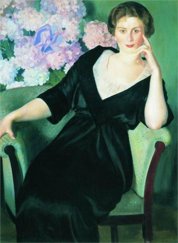 Portrait of Rene Ivanovna Notgaft, 1914  Boris Kustodiev