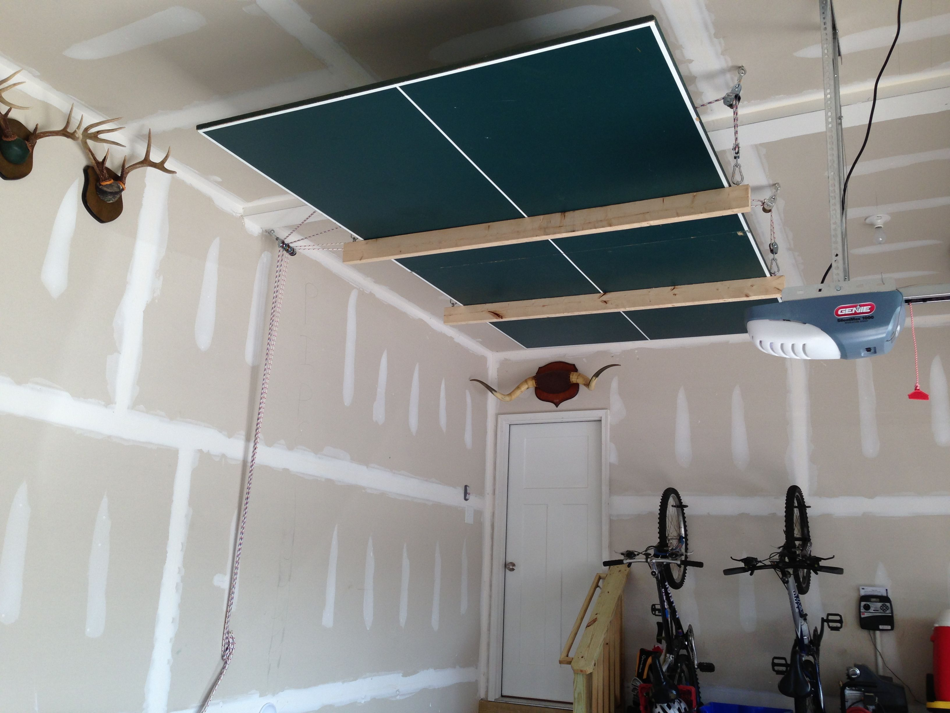 Ping Pong Table On Pulleys For More Garage Space My