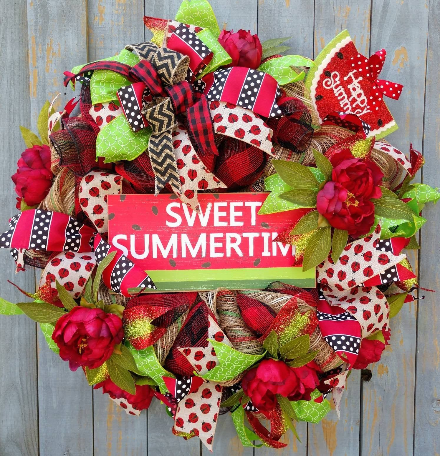 Best Summer Wreath Watermelon Wreath Watermelon Sign Front Door Decor Watermelon Front Door Wreath Everyday Wreath,Best Summer Wreath