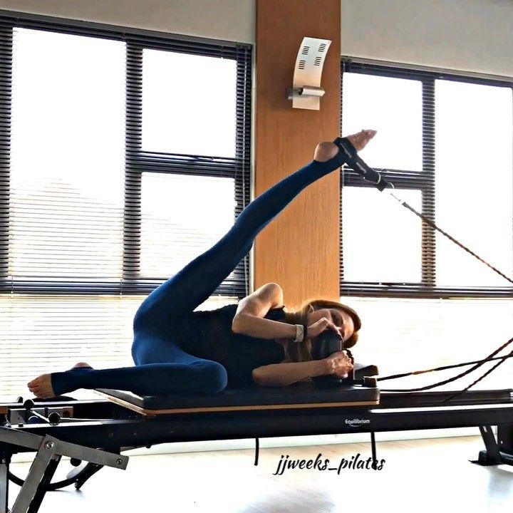 """Joni Weeks on Instagram: """"Reformer Side Lying - Hip work �The focus is to increase mobility in the hip joint whilst strengthening the stabilizers of the…"""""""