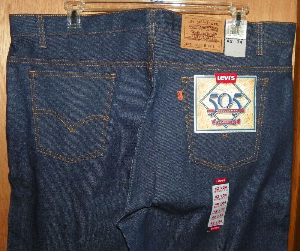 961edaf2b2b Levis 505 Orange Tab Regular Fit Straight Leg Denim Jeans 42 X 34 New Old  Stock #Levis #RegularFitStraightLeg