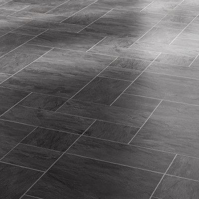 Black Slate Flooring Faus Night Black Slate 8mm Tile Effect