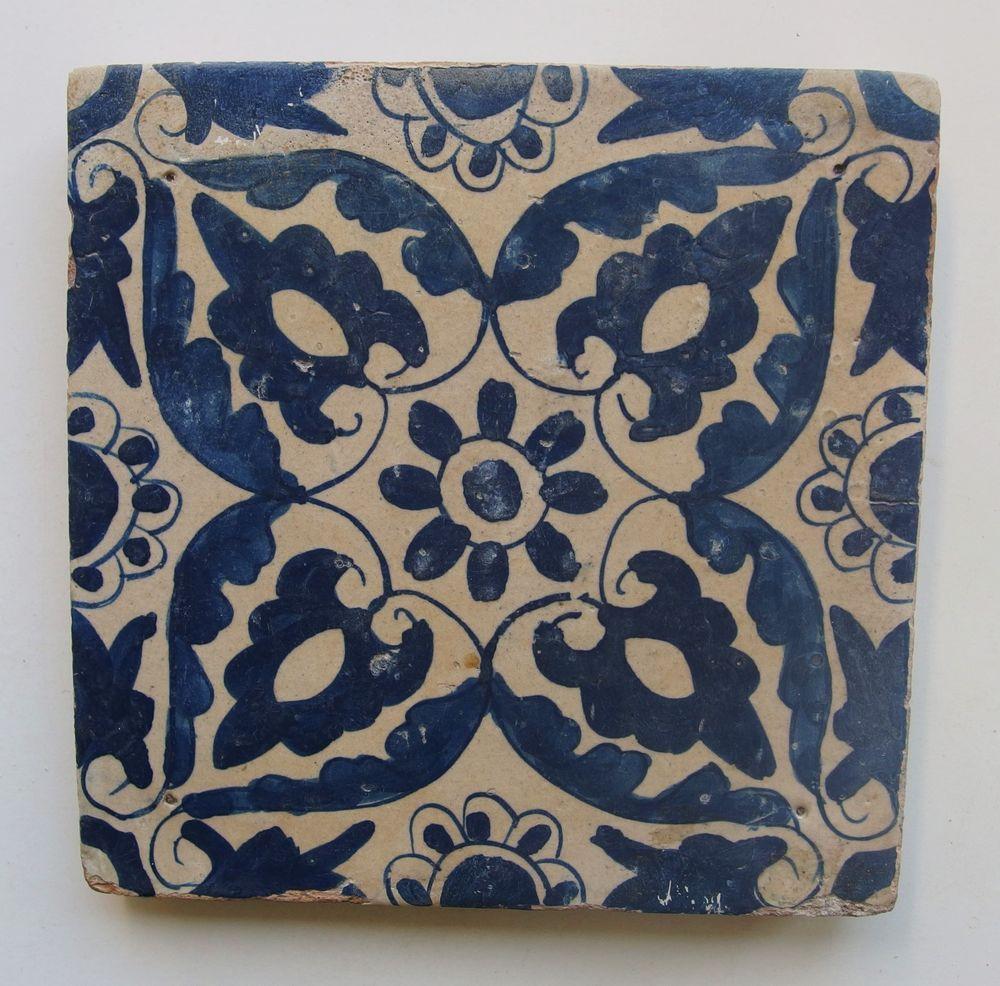 17th Century DUTCH DELFT *ORNAMENTAL* TILE c.1600-1630 UNCOMMON!