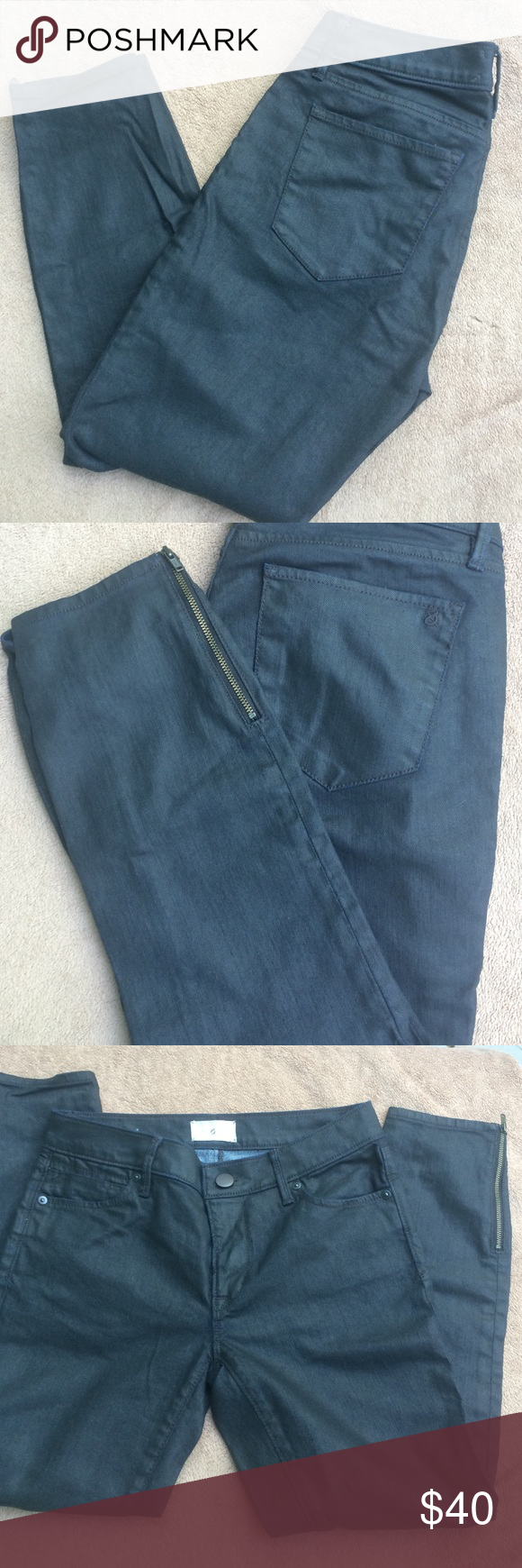 Black coated skinny crops Black skinny cropped jeans. Zipper at ankle. Worn twice. Excellent condition. Size 26/2 P. Lou & Grey - Modern Skinny Ankle. Lou & Grey Jeans Ankle & Cropped