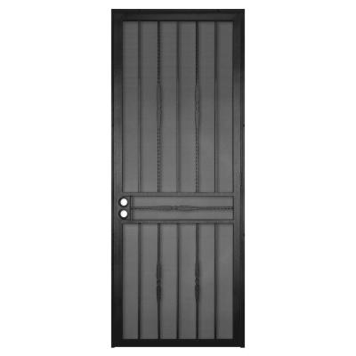 Unique Home Designs 36 In X 96 In Cottage Rose Black Surface Mount Right Hand Steel Security Door With Expanded Metal Screen 5sh600black96l Unique House Design Steel Security Doors Security Door