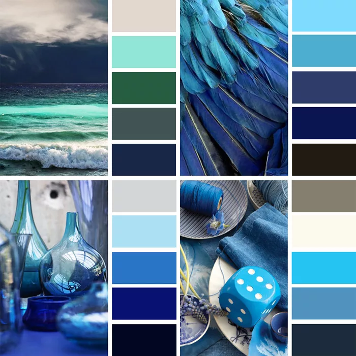сочетание цветов в картинках синий состава