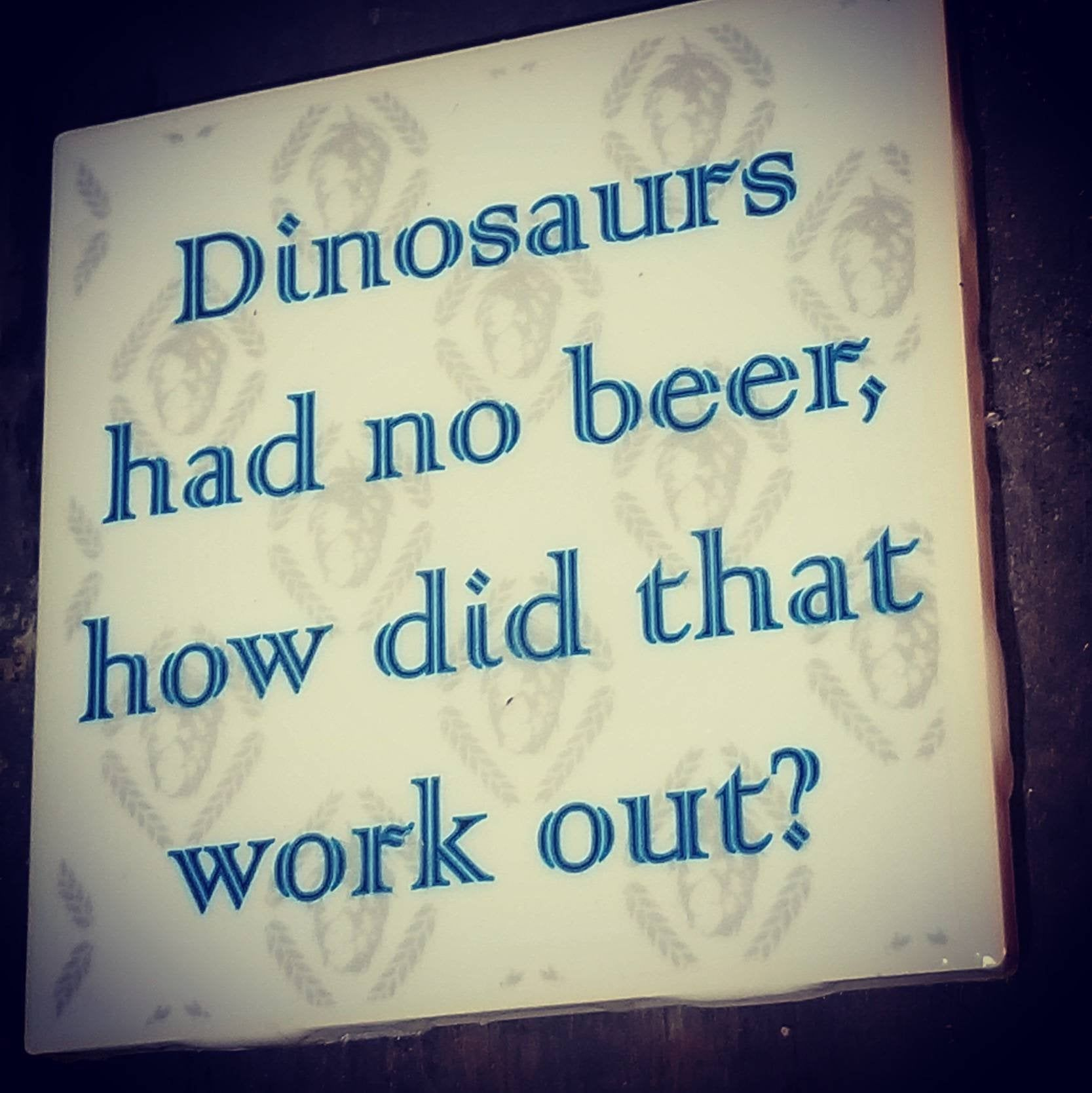 home accessories logo #home #accessories #homeaccessories Tile Coaster Set - Dinosaurs had no beer, how did that work out - Beer Gear - Craft Beer Gift - Beer Home Accessories by CraftHouseTC on Etsy