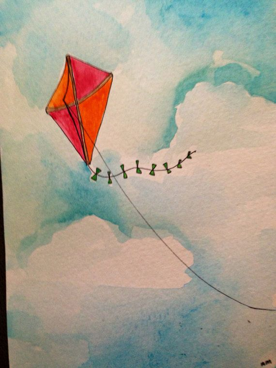 5x7 Print Of Kite Watercolor And Ink Painting On Etsy 10 00