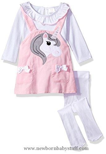 b769f67fb Baby Girl Clothes Youngland Baby Girls' 3 Pc Set, Corduroy Face Jumper Dress,  Onsie and Tights, Pink/White, 3-6 Months