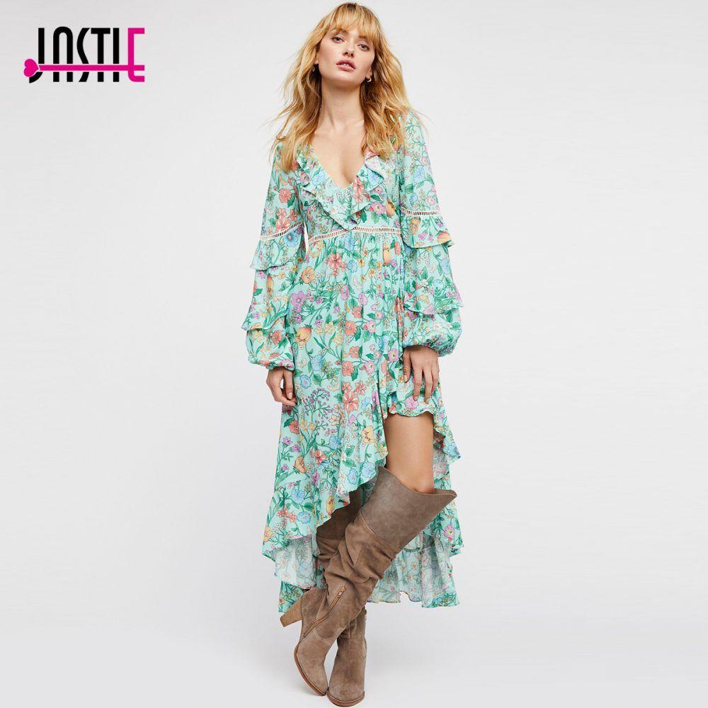 3dd13de6cc5a Jastie Floral Print Frill Gown Midi Dress Cutout Back Boho Chic Beach Dress  Ruffle Hem Hippie Spring Summer Dress Women Vestidos | Summer & Spring Dress  ...