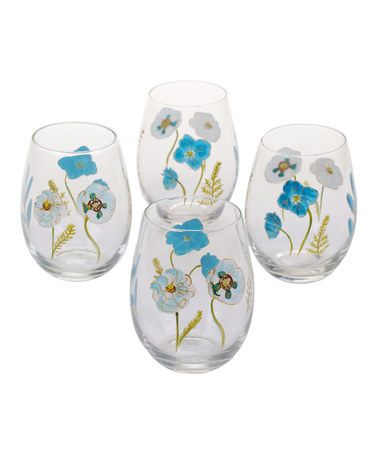 Another great find on #zulily! The Green House Hand-Painted Stemless Wine Glass - Set of Four #zulilyfinds