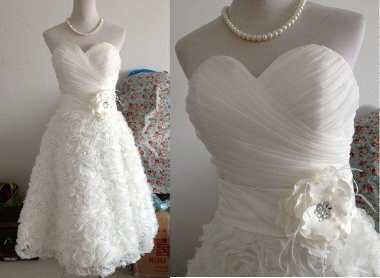 Vintage Tulle Organza Knee Tea Wedding Dress by wonderxue on Etsy