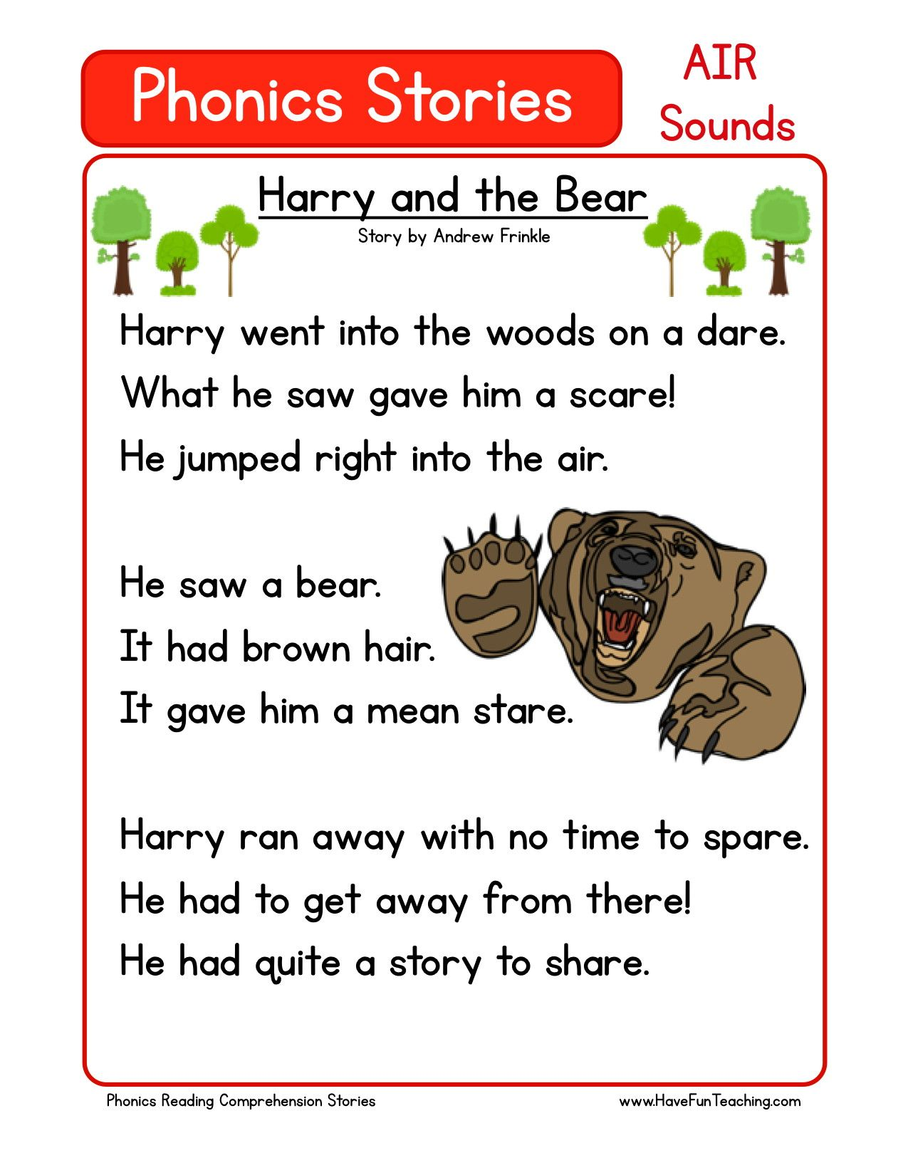 Reading Comprehension Worksheet - Harry and the Bear | Phonic Story ...
