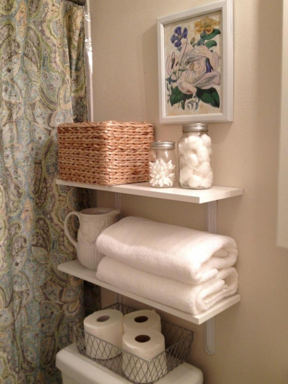 Bathroom Simple Creative Storage White Wooden Floating Shelf Metal Tissue Basket Wicker Beige Stained Wall Gl Jar Remodel Ideas