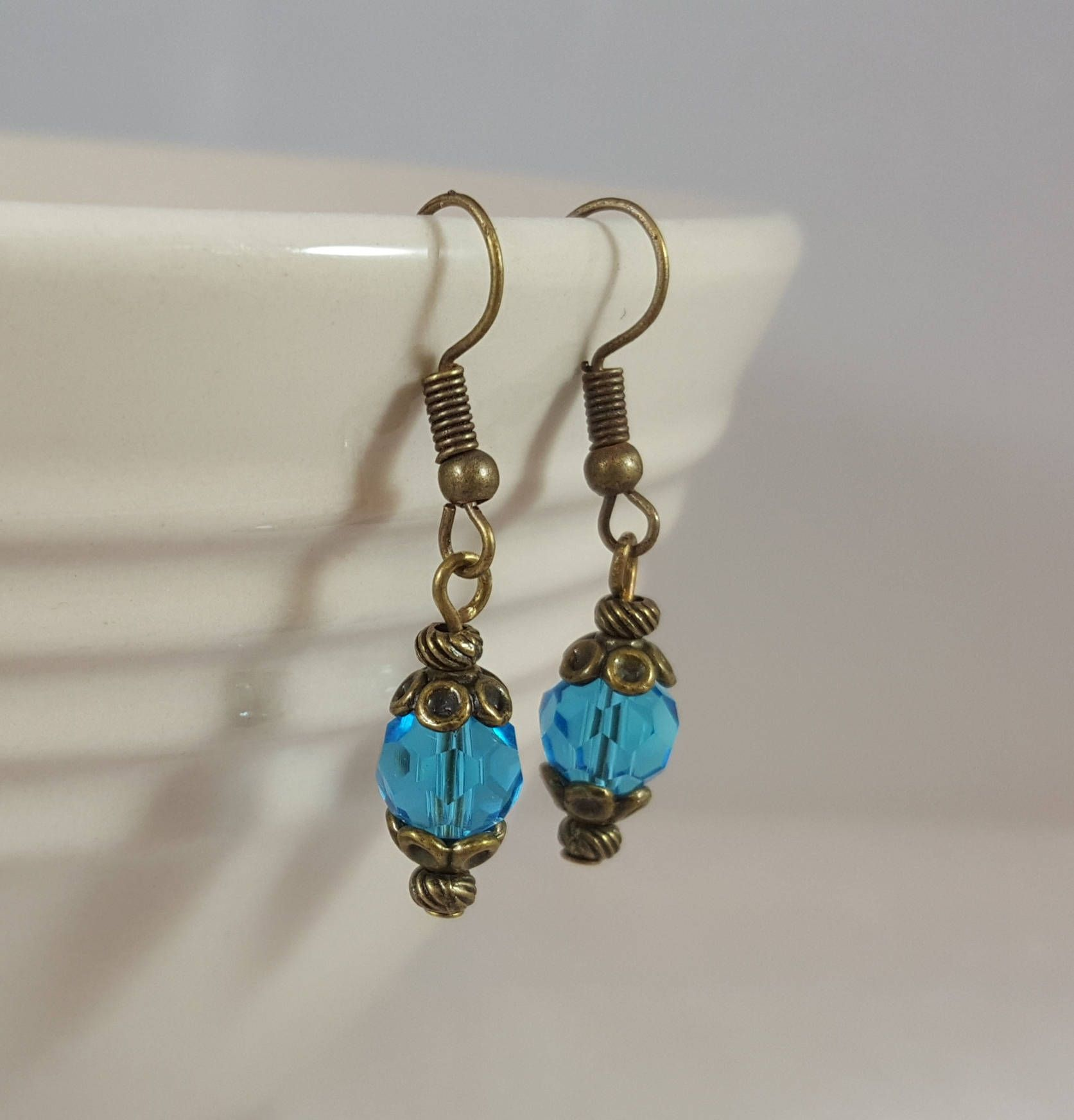 teardrop zircon earrings bright blue hoop