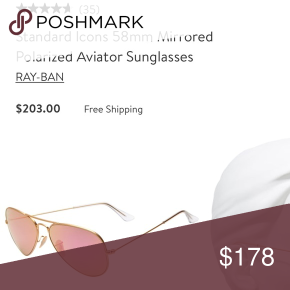 753c8cec6a311 Gold pink Aviator Mirrored Ray Bans Sunglasses NWT Brand New Gold outer    pink