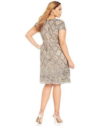 Adrianna Papell Plus Size Short-Sleeve Beaded Sheath | macys.com