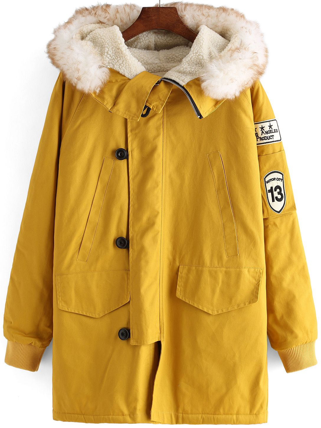 Yellow Faux Fur Hooded Buttons Loose Coat | Long faux fur