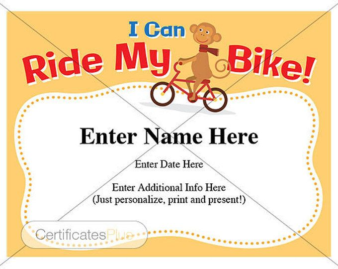 I Can Ride My Bike Award Certificate Template. Fill In Name And