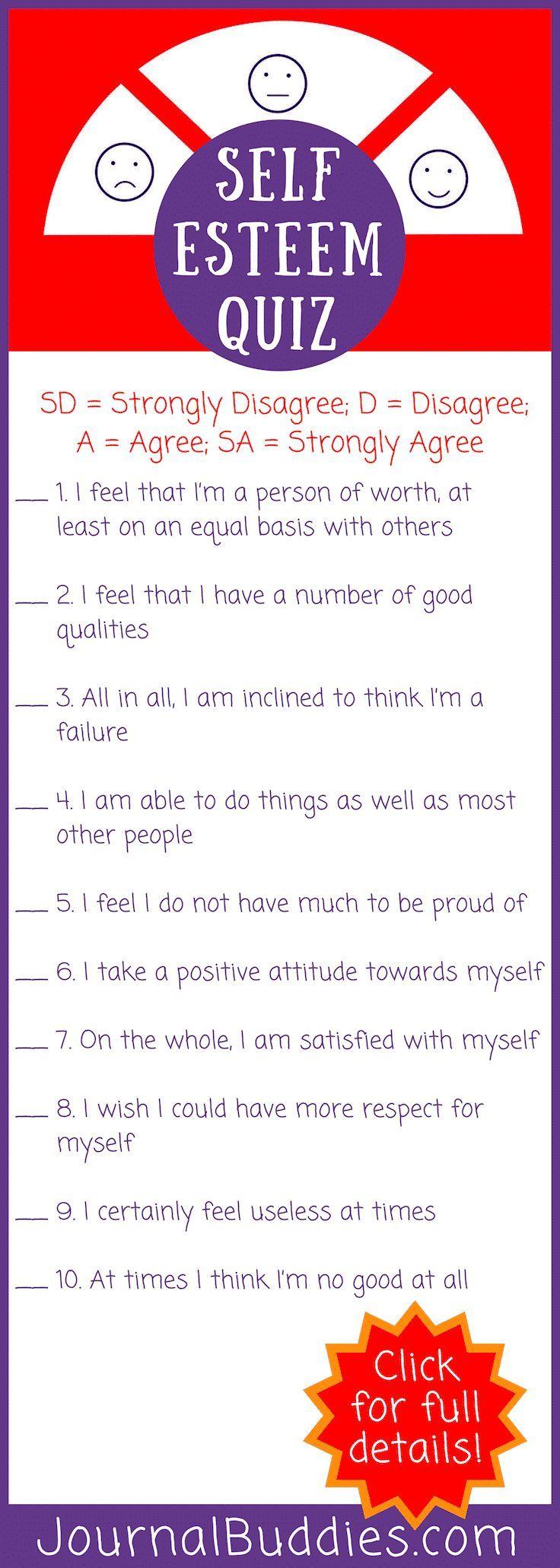 Self-Esteem Quiz | I Heart Freebies | Self esteem quiz