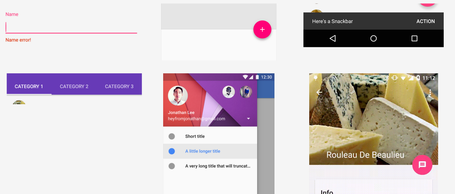 Build a Material Design App with the Android Design Support Library - Google Codelabs