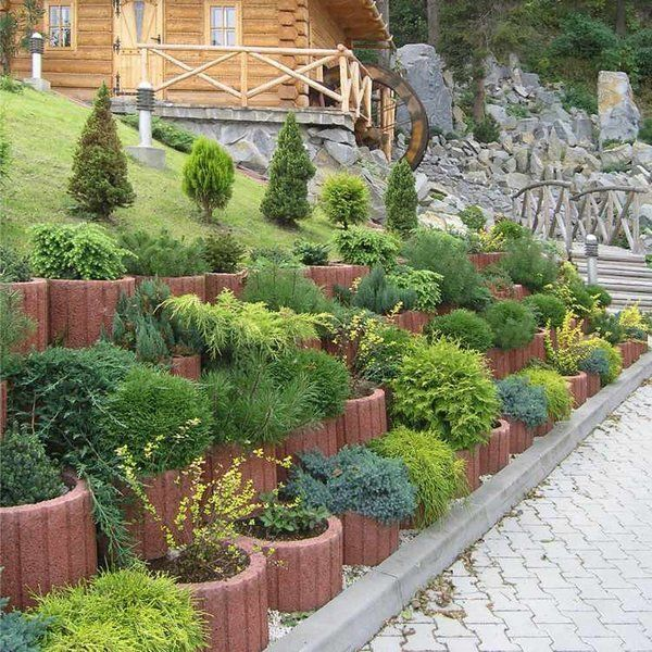 rustic exterior retaining wall ideas cinder block retaining wall concrete planters