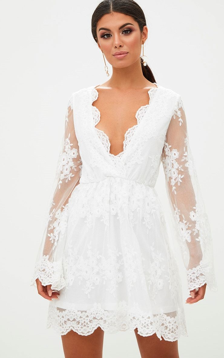 c93504d37a White Lace Plunge Bell Sleeve Skater Dress