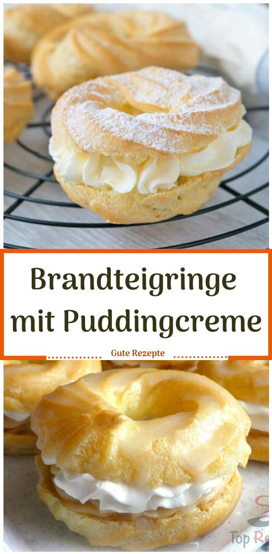 Brandteigringe mit Puddingcreme