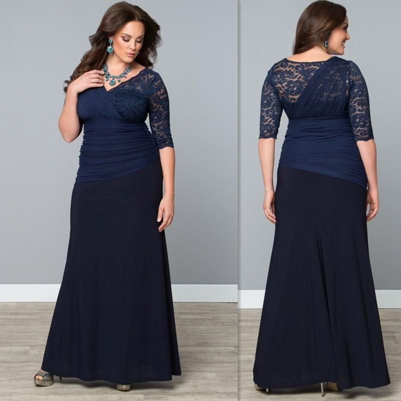 a04fb85702b Evening Gowns For Fat Women 2016 Lace V Neck Half Sleeves Sheath Long Dark  Navy Plus Size Special Occasions Dress For Ladies Cheap Formal Gowns Cheap  Trendy ...