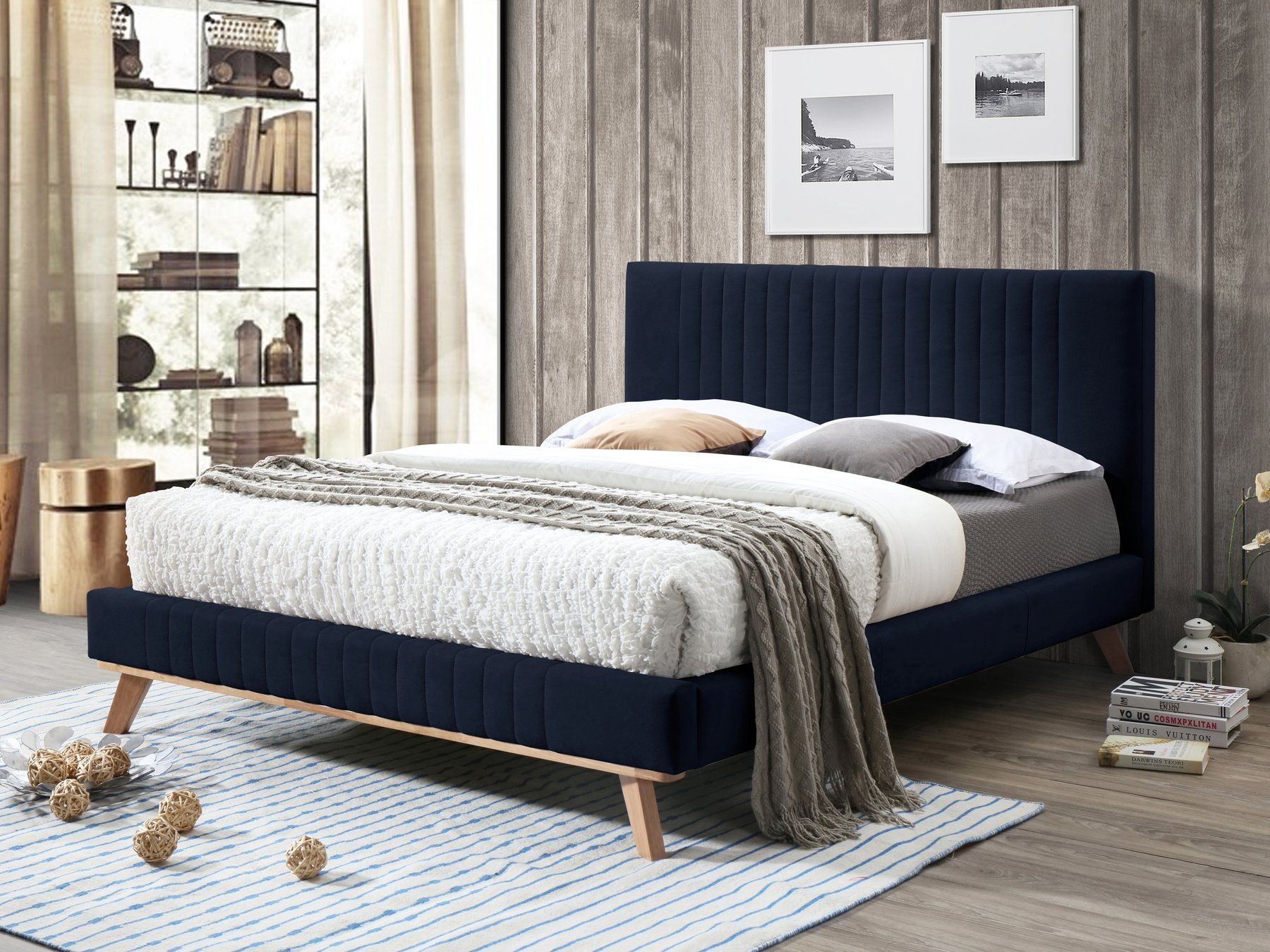Chenille King Size Bed Dark Blue TALENCE Upholstered