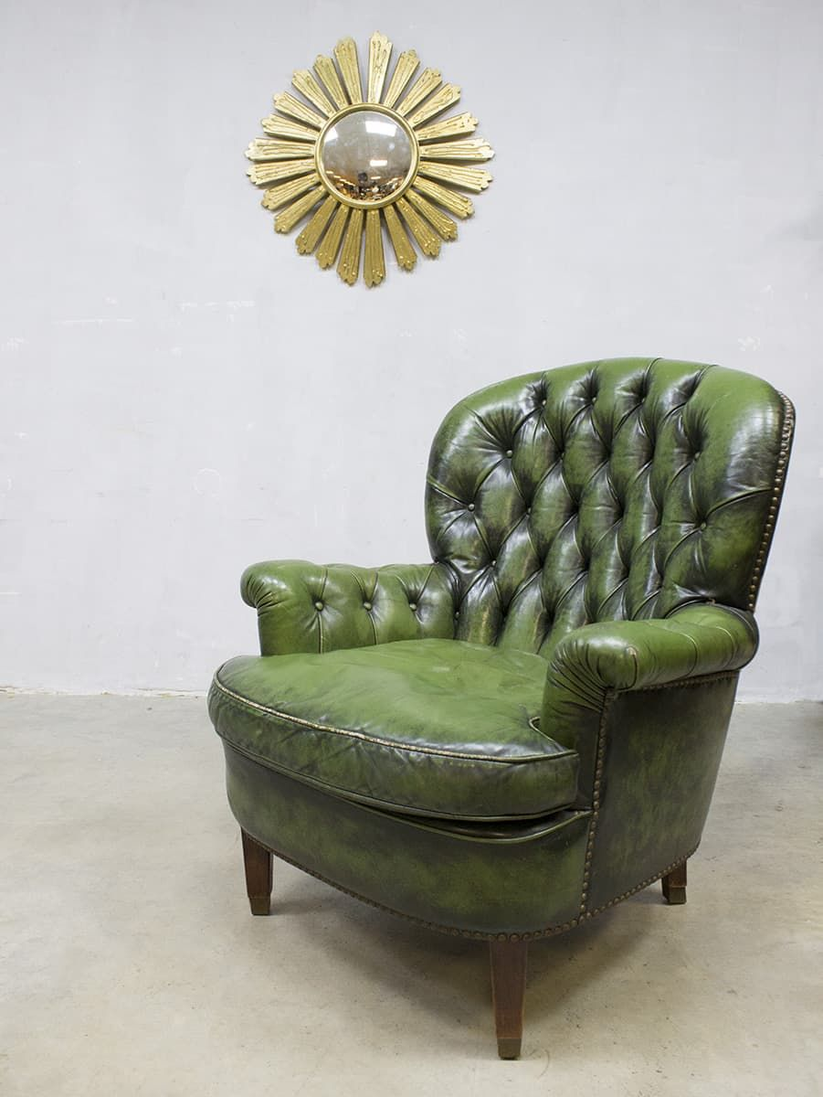 Engelse Leren Fauteuils.Vintage Green Chesterfield Lounge Chair Armchair Fauteuil