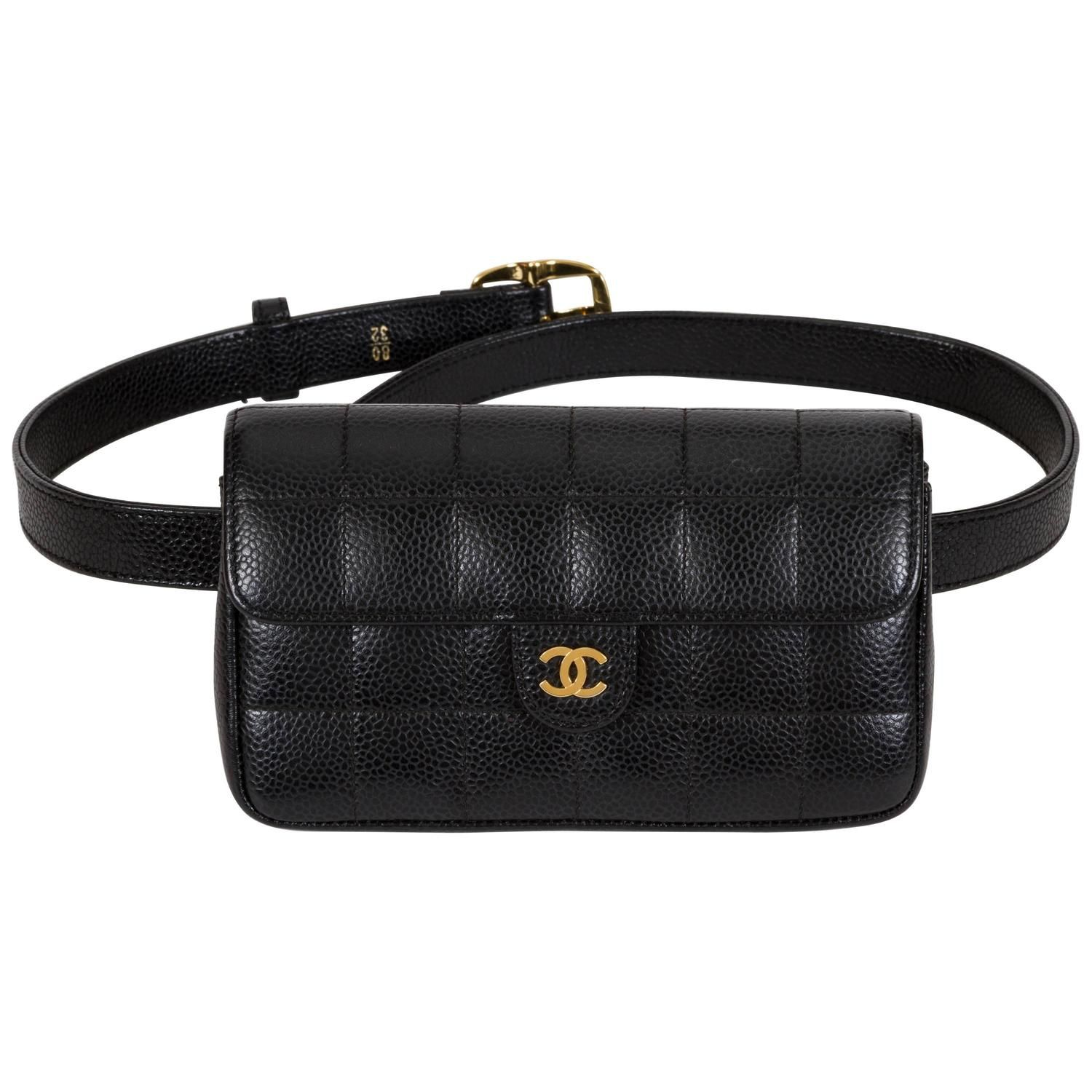 07e2b2de5 Chanel Black Caviar Quilted Fanny Belt Pack Bag Lambskin Leather, Leather  Crossbody Bag, Asia