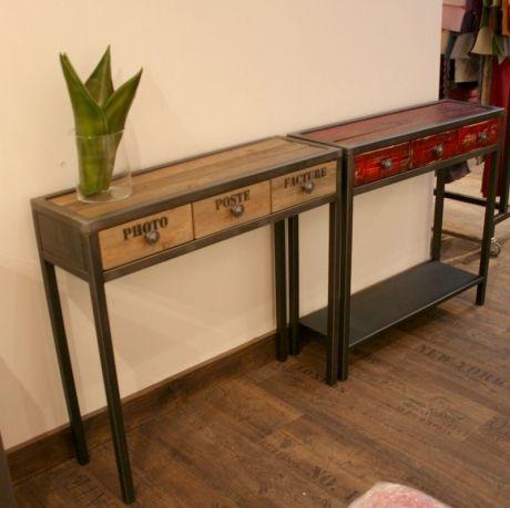 console tiroirs m tal bois flott mobilier design. Black Bedroom Furniture Sets. Home Design Ideas