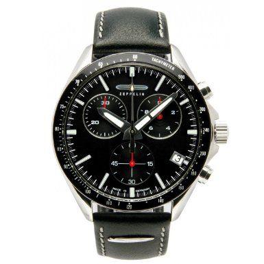 Zeppelin Herren-Armbanduhr XL Black Line Chronograph Quarz Leder 72842: Amazon.de: Uhren
