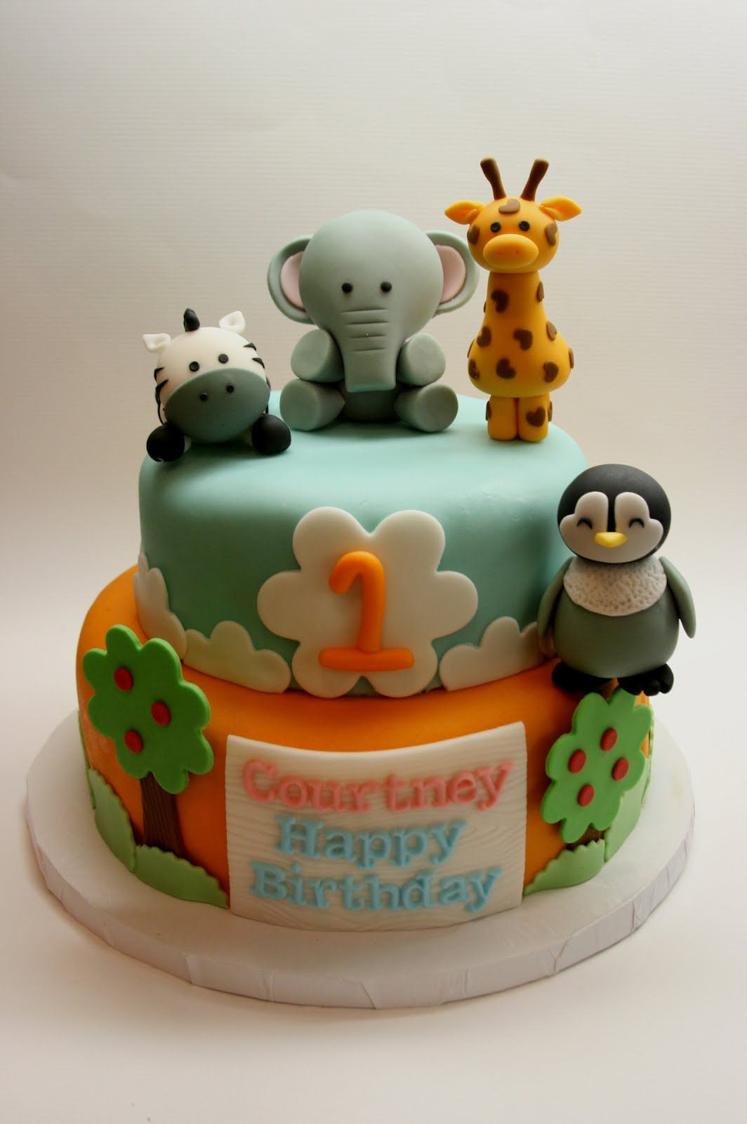 Animal Cakes Safari Animal Cake For Courtneys 1st Birthday Cake
