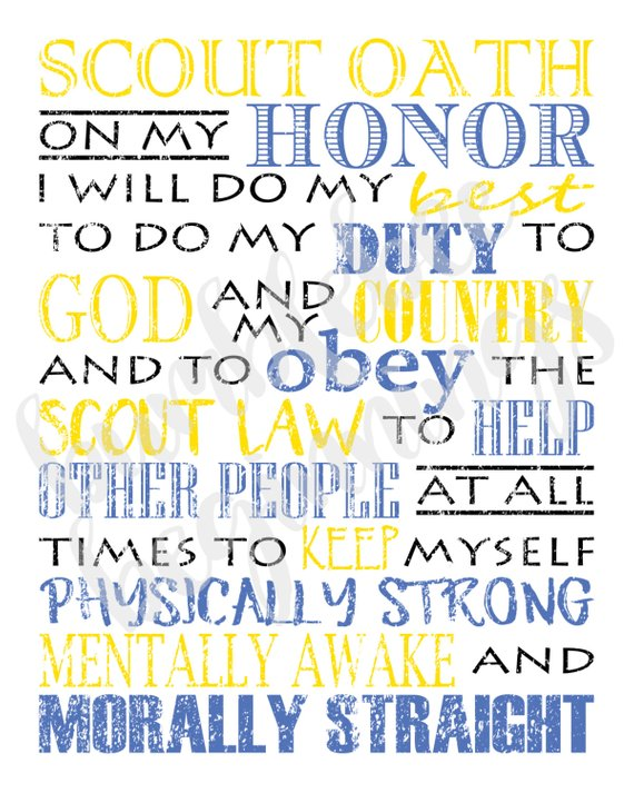 Printable Scout Oath And Law 16x20 Posters Boy Scout Oath Scout Boy Scout Law