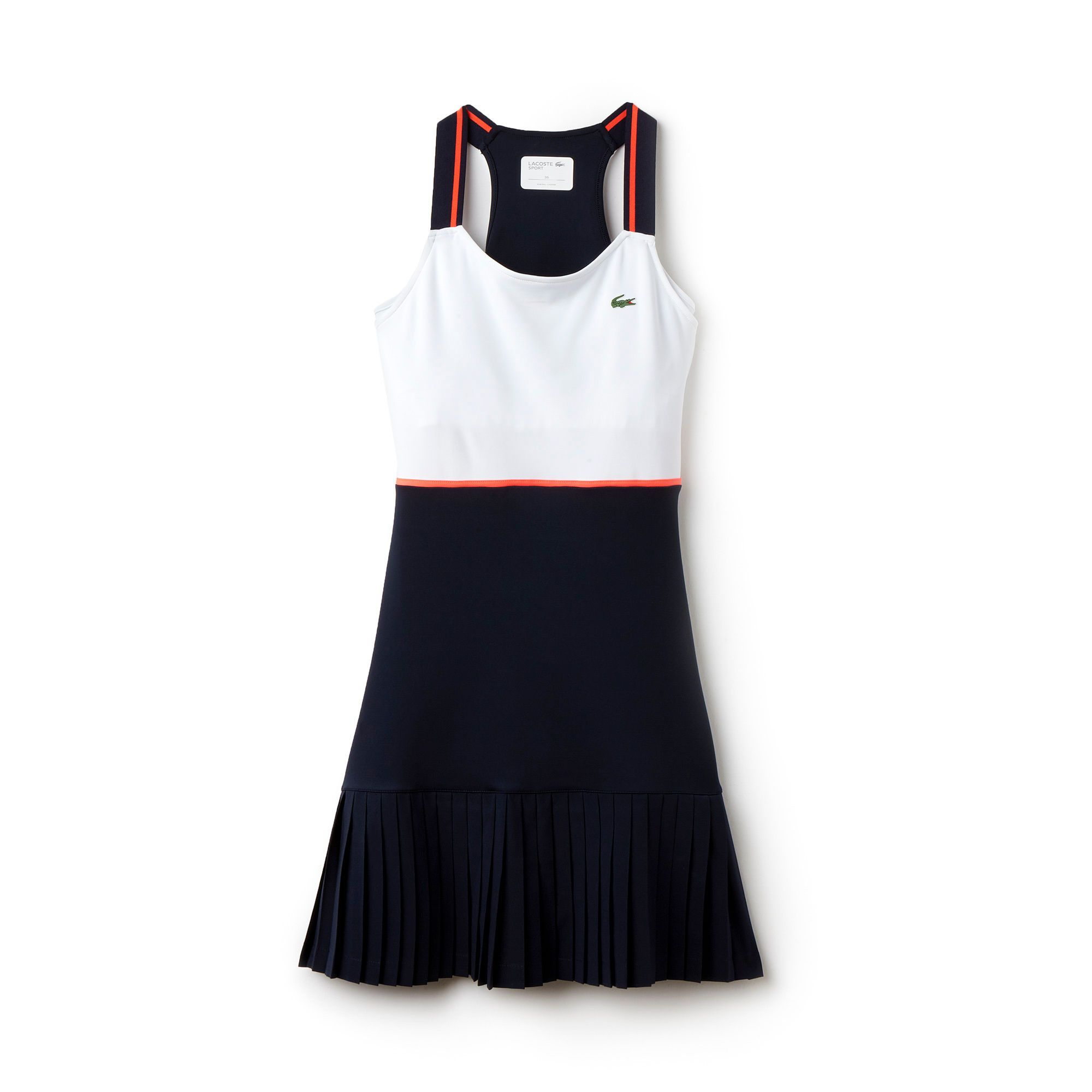 With Pretty Pleats On The Skirt This Colorblock Lacoste Sport Racerback Tennis Dress In Technical Jersey Womens Tennis Dress Tennis Dress Lacoste Tennis Dress