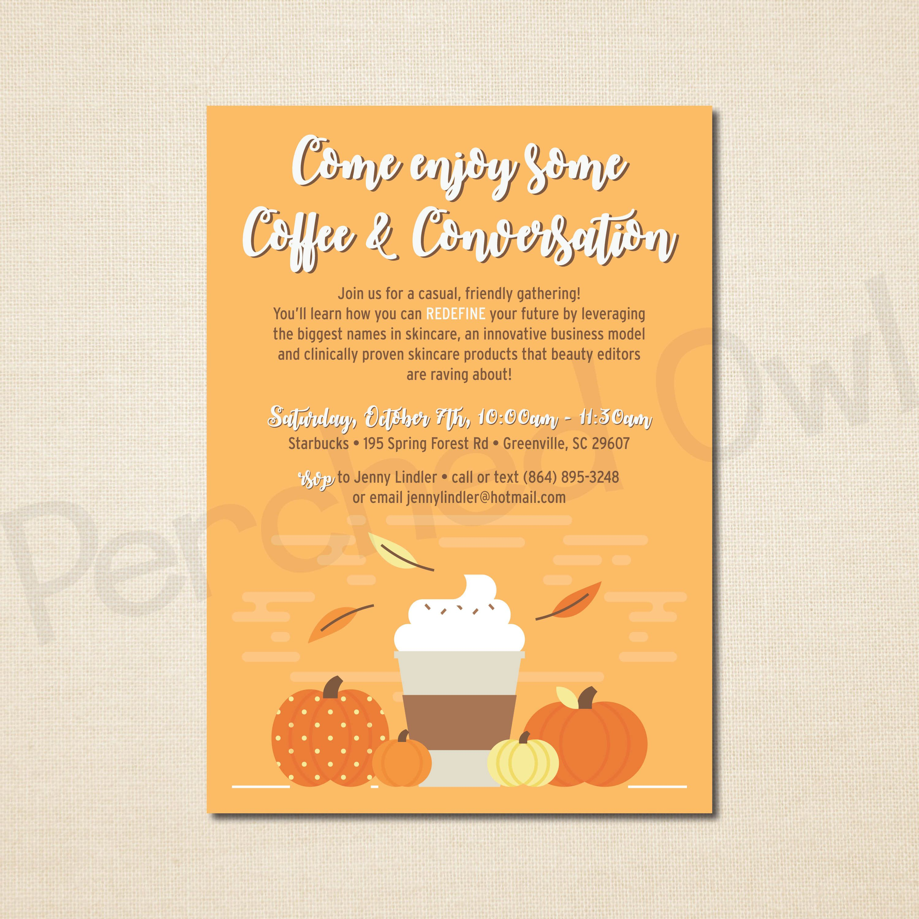 Coffee and Conversation Latte Invitation - Direct Selling - Business ...