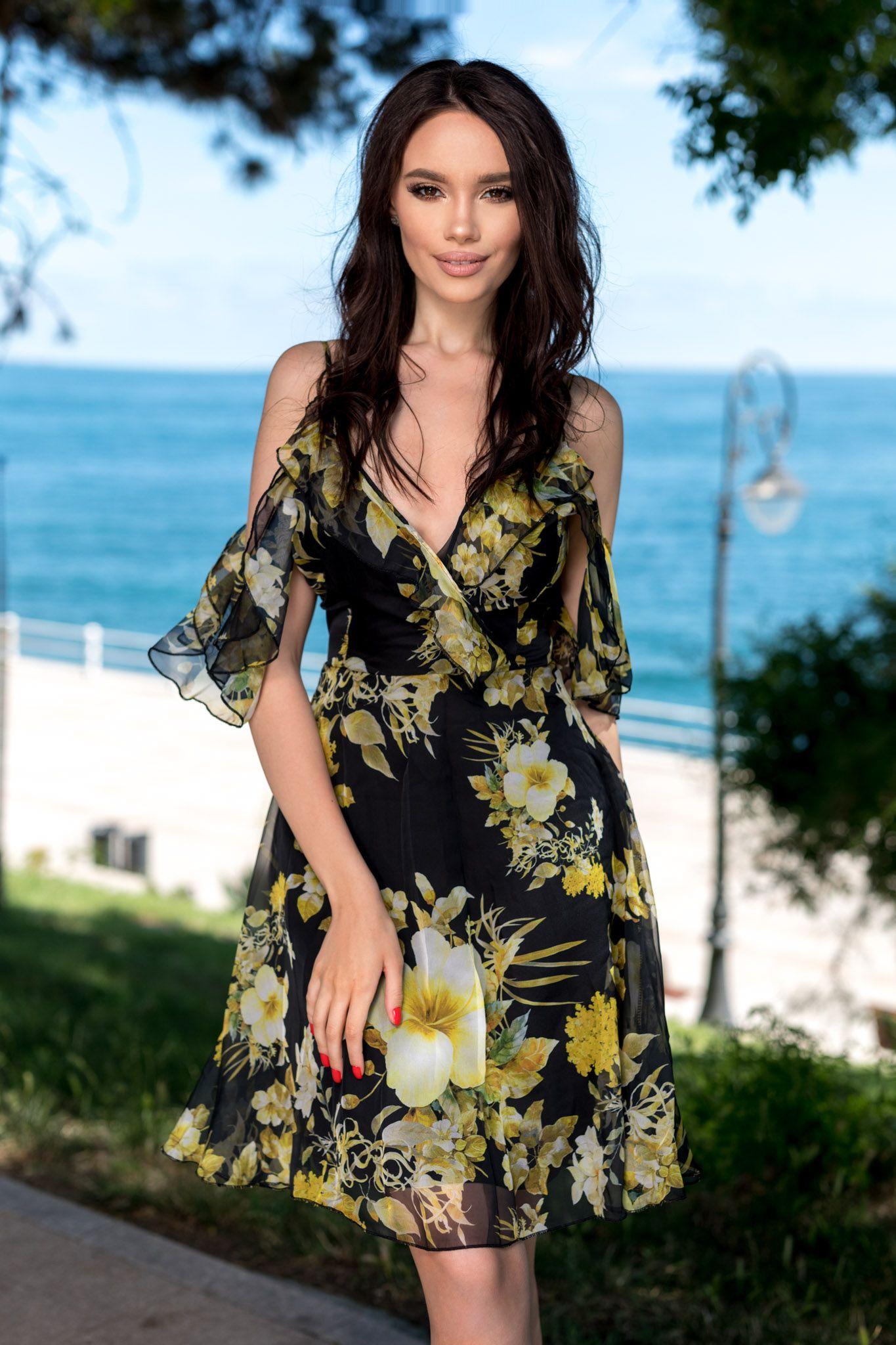 Rochie Priscilla Multi Rochie Din Voal Cu Imprimeu Floral Ideala
