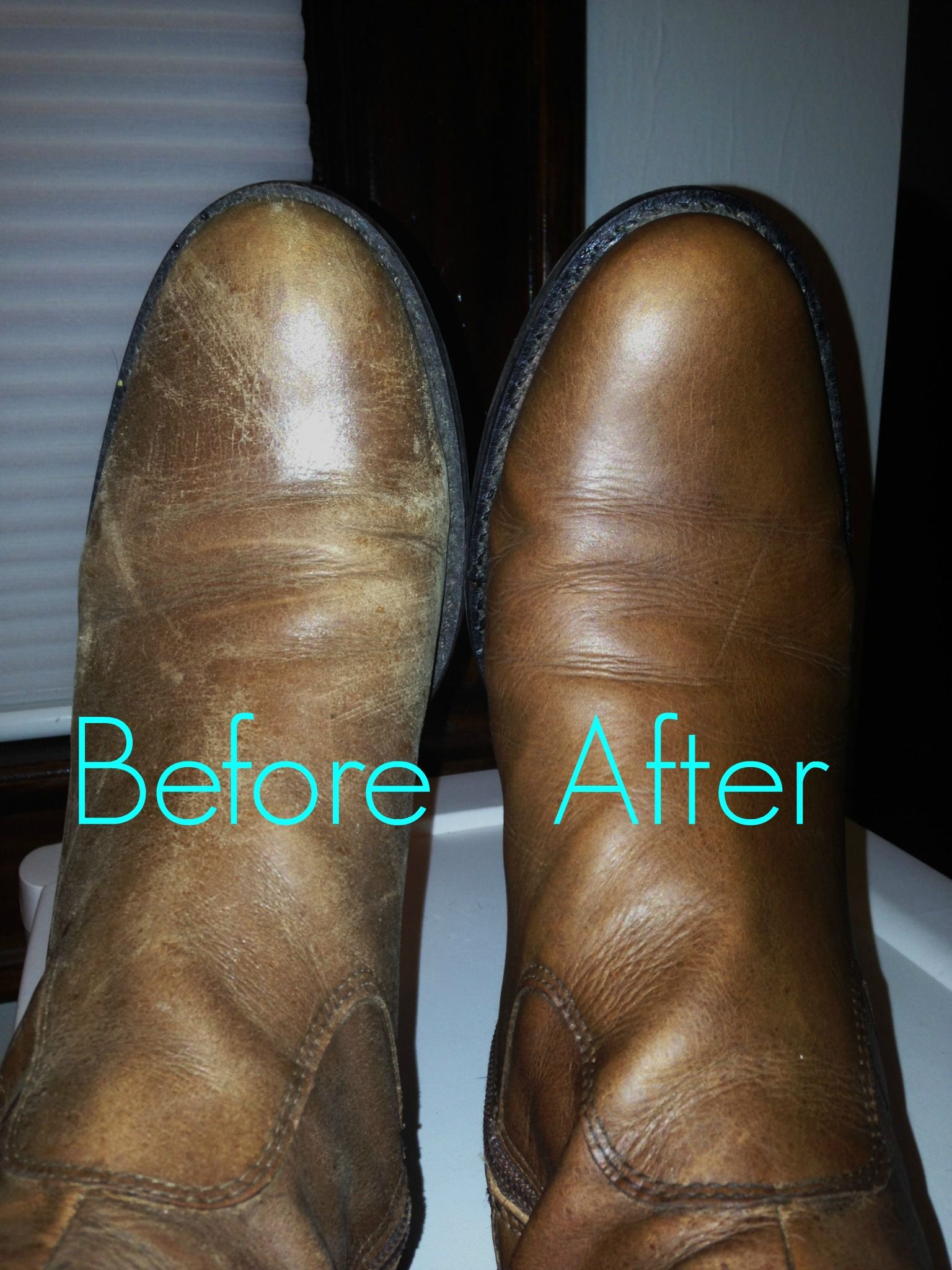 Leather Shoe Chapstick before and after. THINK LEATHER