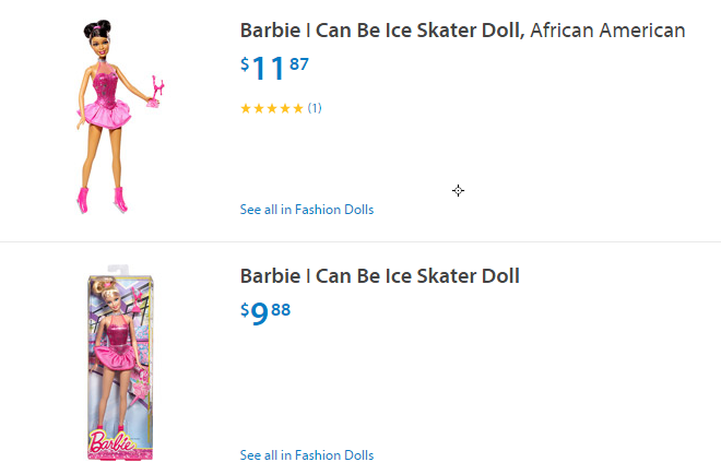 Wal-Mart, Toys R Us price black, white Barbies differently