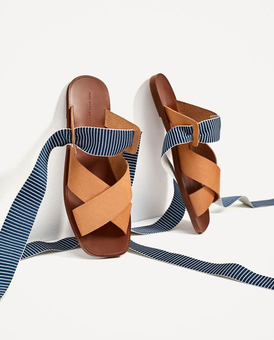 5ff4d77a3f7 ZARA - WOMAN - LEATHER SLIDES WITH INTERCHANGEABLE RIBBONS Sandalias Verano  2017