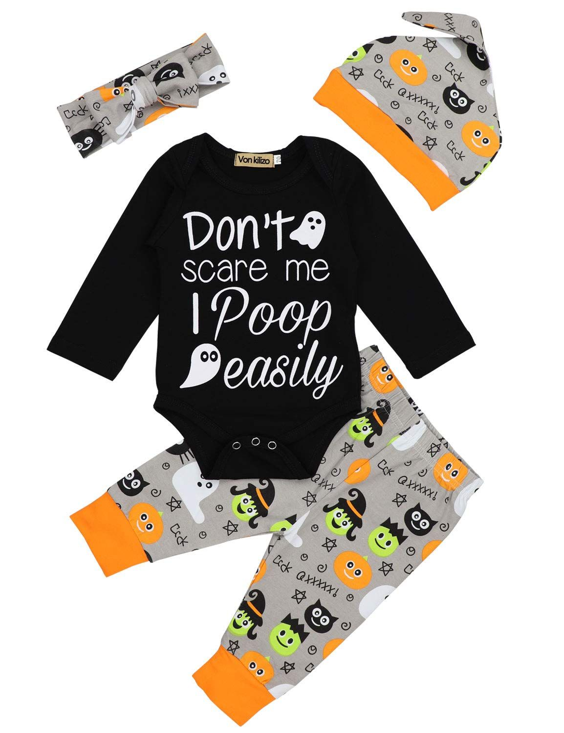 Newborn Baby Boys Girls Romper 1st Halloween Outfit Long Sleeve Pumpkin Clothes