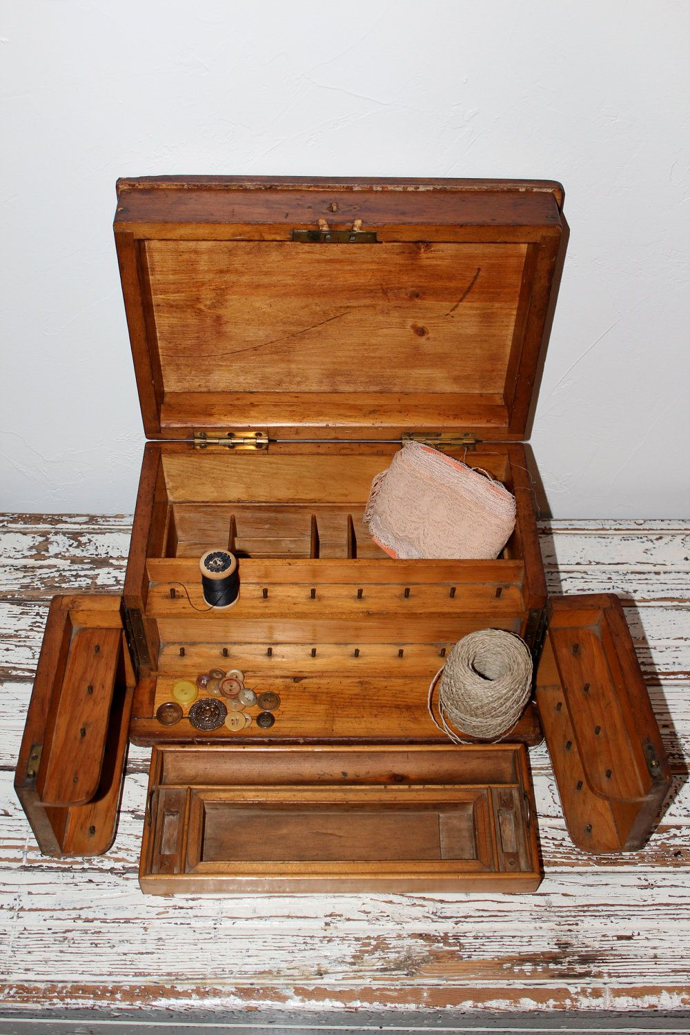 Vintage Wooden Sewing Box : vintage, wooden, sewing, Sewing, Antique., .00, Etsy., Vintage, Wooden