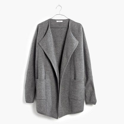 A cool sculptural cardigan sweater in light, touchable boiled ...