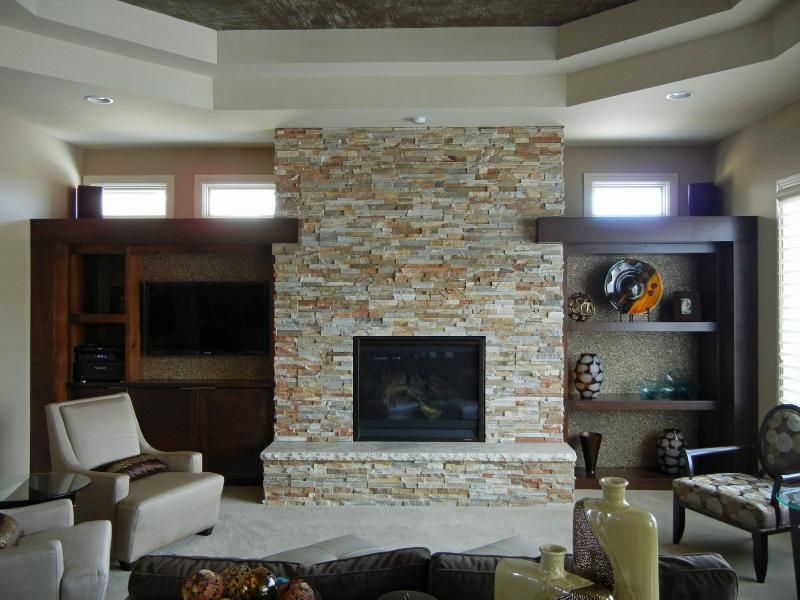 Stone Fireplace Face The Side Details With Storage And