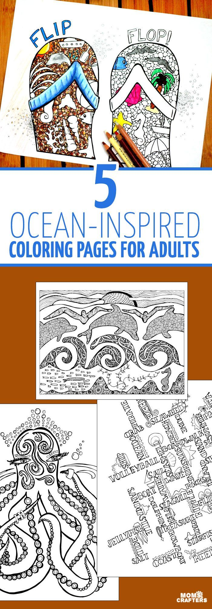 Sea themed coloring pages for adults | Ocean coloring ...