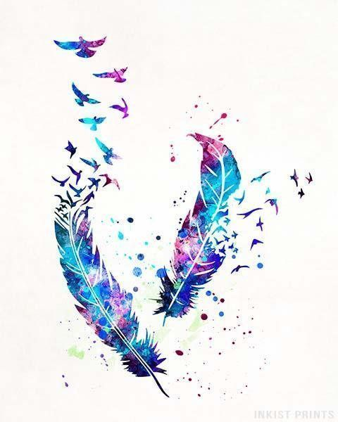 Birds and Feathers, Baby Shower Gift, Art Print, Boho Watercolor Art, Nursery Poster, Nursery Decor, Bedroom Decor, , Christmas Gift