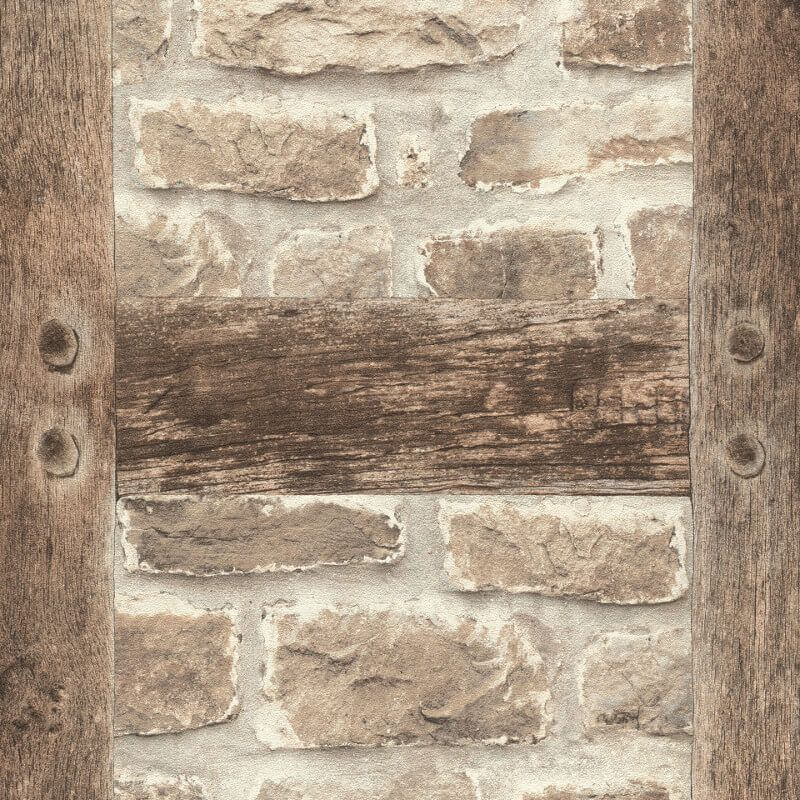 Barbara Becker Timber And Stone Wallpaper Is Specially Designed To Add A Rustic Touch To Any Room This Wall Stone Wallpaper Faux Brick Wallpaper Rustic Stone