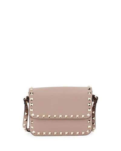33a734c9f769 Rockstud Small Flap-Top Crossbody Bag, Beige Valentino Bags, Valentino  Rockstud, Leather